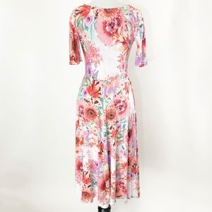 Custom made Dresses - floral • rayon elbow sleeve fit flare swing dress